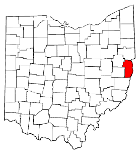 Ohio Map showing Jefferson County