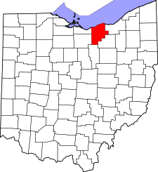 Ohio Map showing Lorain County