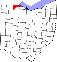 Ohio Map showing Lucas County