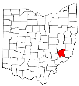 Ohio Map showing Noble County