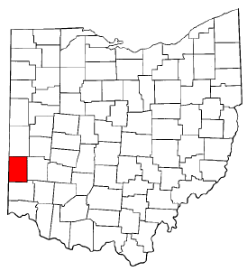 Ohio Map showing Preble County