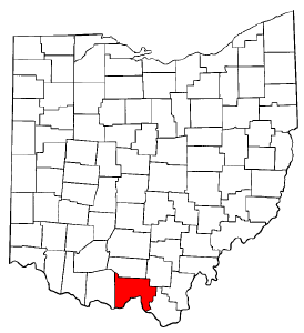 Ohio Map showing Scioto County