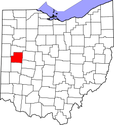 Ohio Map showing Shelby County