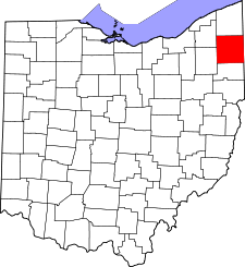 Ohio Map showing Trumbull County