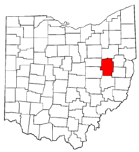 Ohio Map showing Tuscarawas County