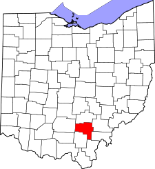 Ohio Map showing Vinton County