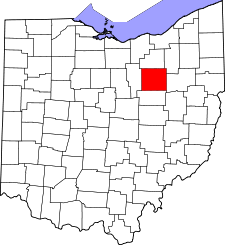Ohio Map showing Wayne County
