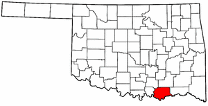 OKLAHOMA Map showing Bryan County