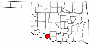 OKLAHOMA Map showing Cotton County