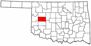 OKLAHOMA Map showing Custer County