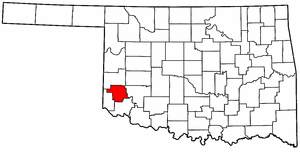 OKLAHOMA Map showing Greer County