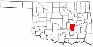 OKLAHOMA Map showing Hughes County