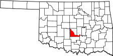 OKLAHOMA Map showing McClain County
