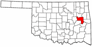 OKLAHOMA Map showing Muskogee County