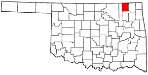 OKLAHOMA Map showing Nowata County