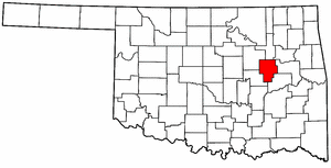 OKLAHOMA Map showing Okmulgee County