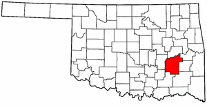 OKLAHOMA Map showing Pittsburg County