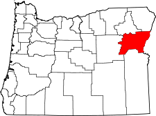 Oregon Map showing Baker County
