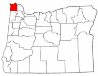 Oregon Map showing Clatsop County