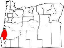 Oregon Map showing Coos County
