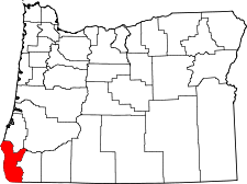 Oregon Map showing Curry County