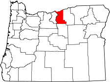 Oregon Map showing Gilliam County