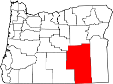 Oregon Map showing Harney County