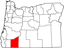 Oregon Map showing Jackson County