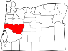 Oregon Map showing Lane County