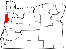 Oregon Map showing Lincoln County