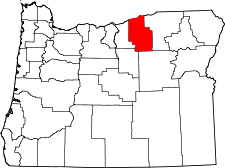 Oregon Map showing Morrow County