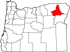 Oregon Map showing Union County