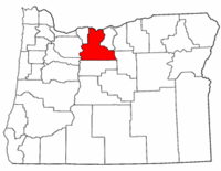 Oregon Map showing Wasco County