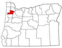 Oregon Map showing Yamhill County