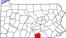 Pennsylvania Map showing Adams County