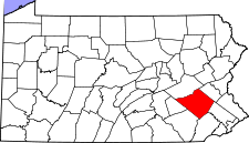 Pennsylvania Map showing Berks County