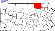 Pennsylvania Map showing Bradford County