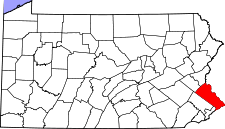 Pennsylvania Map showing Bucks County