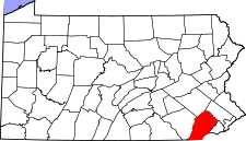 Pennsylvania Map showing Chester County