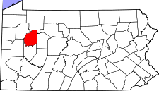 Pennsylvania Map showing Clarion County