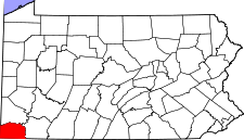 Pennsylvania Map showing Greene County
