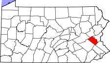 Pennsylvania Map showing Lehigh County