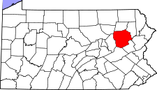 Pennsylvania Map showing Luzerne County