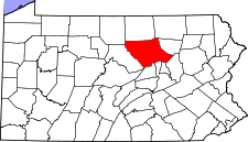 Pennsylvania Map showing Lycoming County