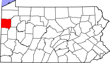 Pennsylvania Map showing Mercer County