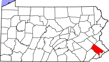 Pennsylvania Map showing Montgomery County