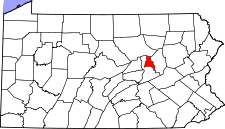 Pennsylvania Map showing Montour County