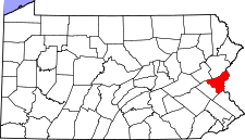 Pennsylvania Map showing Northampton County