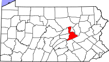 Pennsylvania Map showing Northumberland County