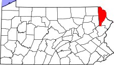 Pennsylvania Map showing Wayne County